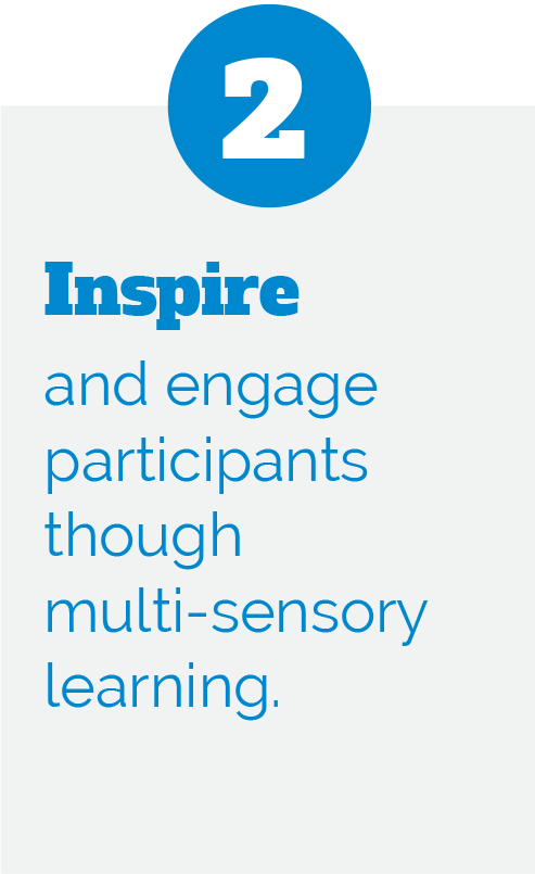 2: Inspire and engage participants though multi-sensory learning.