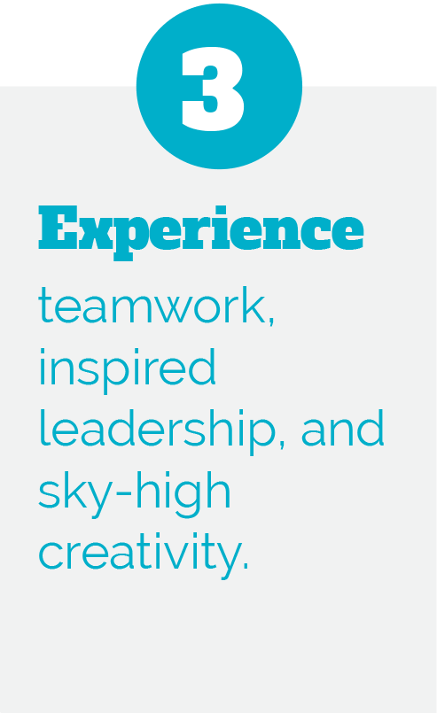 3: Experience teamwork, inspired leadership, and sky-high creativity.