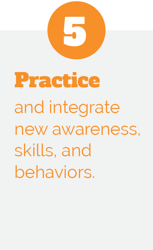 5: Practice and integrate new awareness, skills, and behaviors.
