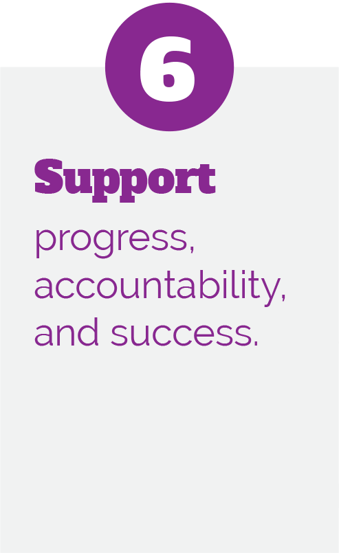 6: Support progress, accountability, and success.